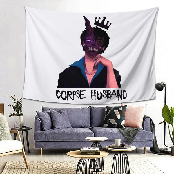 Corpse Husband Tapestry Hanging Tapiz Wall Decor Onlyhands Among Us Crewmate Imposter Game Tapestries Polyester Home 1 - Corpse Husband Merch