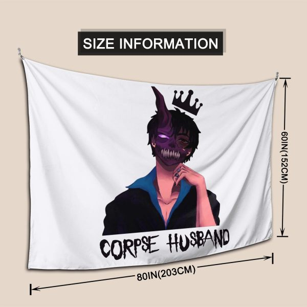Corpse Husband Tapestry Hanging Tapiz Wall Decor Onlyhands Among Us Crewmate Imposter Game Tapestries Polyester Home 3 - Corpse Husband Merch