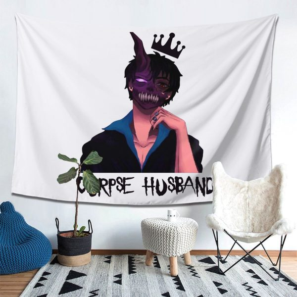 Corpse Husband Tapestry Hanging Tapiz Wall Decor Onlyhands Among Us Crewmate Imposter Game Tapestries Polyester Home - Corpse Husband Merch
